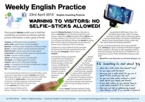 wep 230415 warning to visitors no selfie sticks allowed weekly english. Black Bedroom Furniture Sets. Home Design Ideas